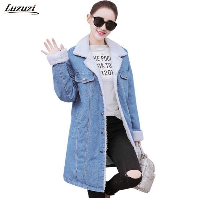 216692aed07 1PC Winter Denim Jacket Women Denim Coat Thick Fleece Long Coats Winter Coat  Women Jeans Jackets Jaqueta Feminina Inverno Z952