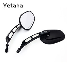 Yetaha 8mm 10mm Rear View Side Mirror For Sportster Softail Rocker Iron Fatboy Dyna Cross Road Black Chrome Motorcycle Mirrors
