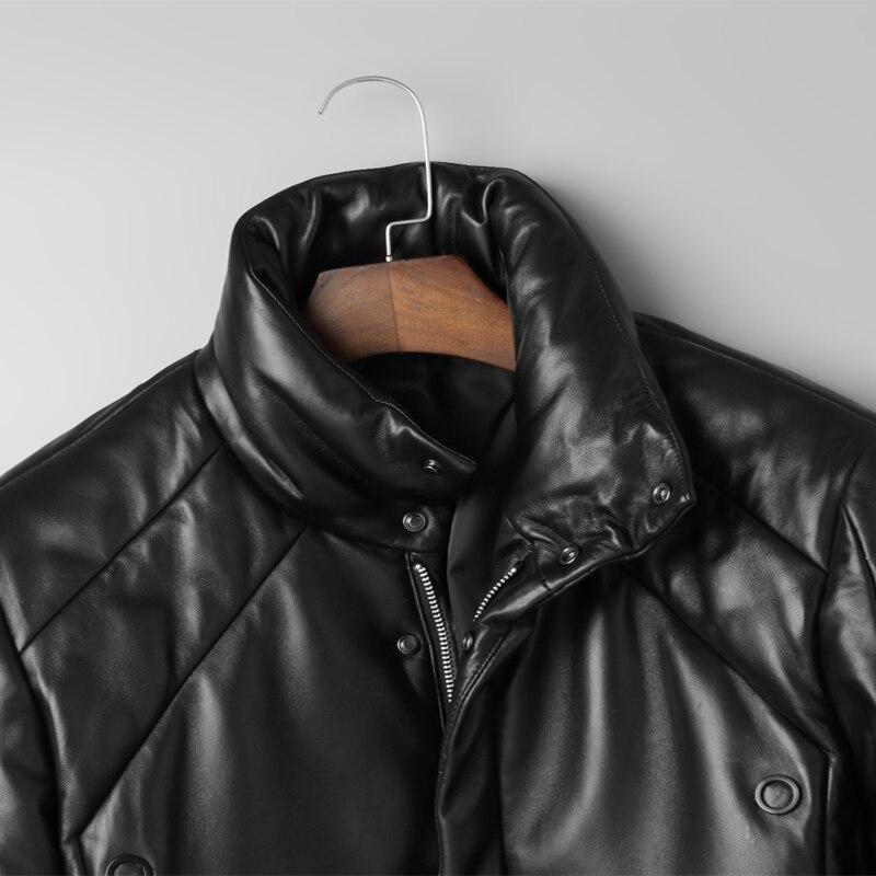 newest aefaa 7c991 US $412.86  100% Del Cuoio Genuino Imbottiture Giubbotti Inverno Caldo di  Spessore Cappotti Corti di pelle di Pecora Giacca di Pelle Collare Del ...