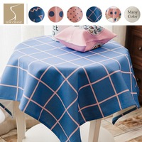 SewCrane Blue Polka Dot Baby Pink Gingham Stripes Abstract Linear Geometric Table Cloth Home Living Cotton