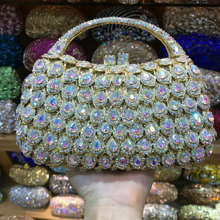 XIYUAN BRAND Luxury Crystal Clutch Pink Evening Bag pure Handmade Party Girl Clutch Bag Prom Day Clutches Party Purse handbag mz15 mz17 mz20 mz30 mz35 mz40 mz45 mz50 mz60 mz70 one way clutches sprag bearings overrunning clutch cam clutch reducers clutch