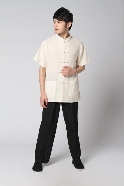 Beige-Noir Chinois Hommes de Chemise en Lin Pantalon Kung Fu Costume S M L  XL XXL 6b01dc3e4be