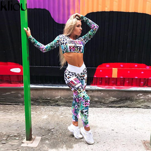 Image 1 - Fitness Tracksuit Digital Printed Letters Workout Women Two Pieces Sets Female Sporting Full Sleeve Crop Top Leggings