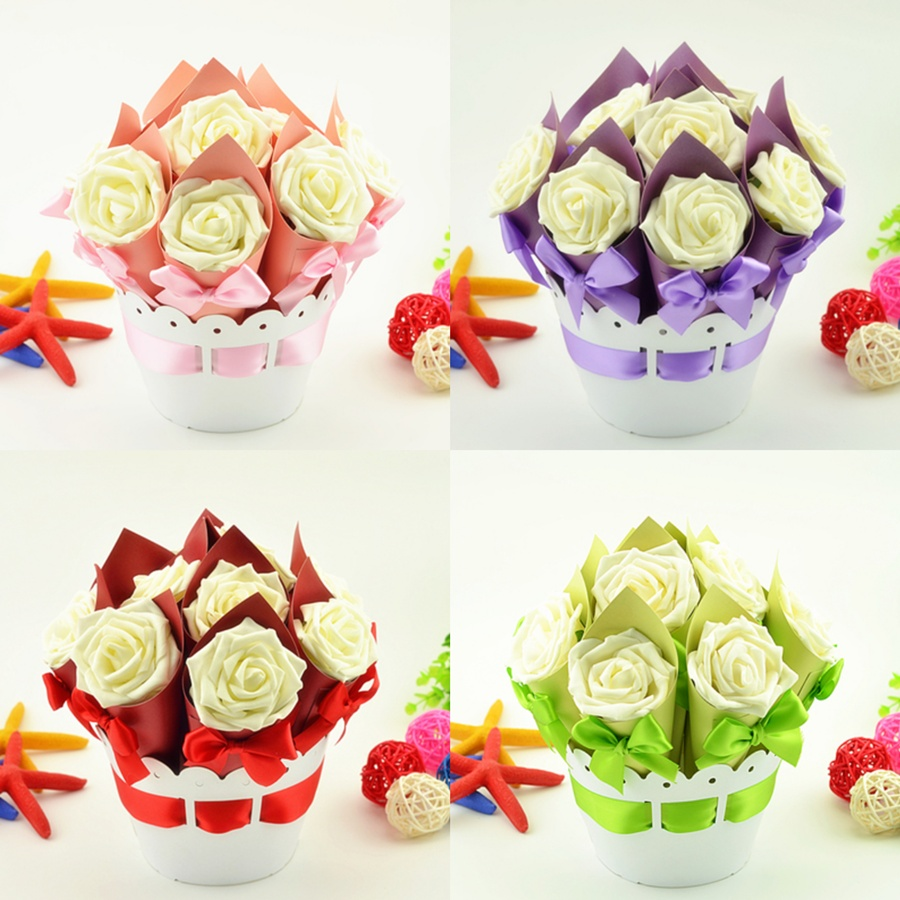 Us 34 33 13 Off 5 Sets 50pcs White Flower Wedding Favors Flower Pot Candy Boxes Ice Cream Cone Gifts Box Paper Box Wedding Table Decoration In