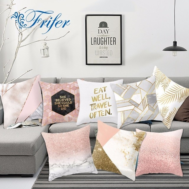 Golden Pink Cushion Covers Pillow Cases Quality Short Plush Pillowcase For  Chair Seat Throw Cover Sofa
