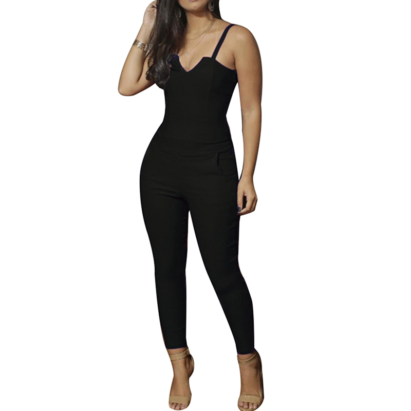 Women Solid Color Jumpsuit Skinny Strappy High Waist Sleeveless Bodysuit for Summer -MX8