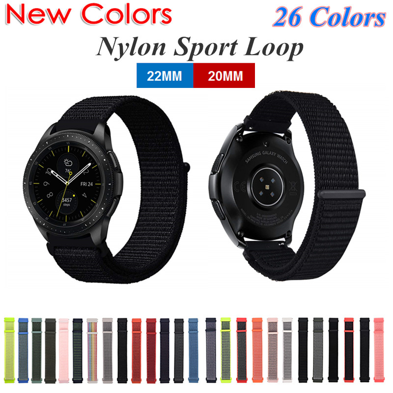 <font><b>20MM</b></font> 22MM Nylon Loop Sport Watch Strap for Samsung Galaxy Watch Active 46MM 42MM <font><b>Magnetic</b></font> Wristband for Huawei Watch GT Bracelet image
