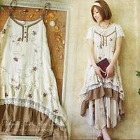 Nhật bản Mori Cô Gái Ngọt Ngào Ăn Mặc Nữ Floral Thêu Chắp Vá Ren Lớp Nữ Vestido Đáng Yêu Spaghetti Strap Dresses A098