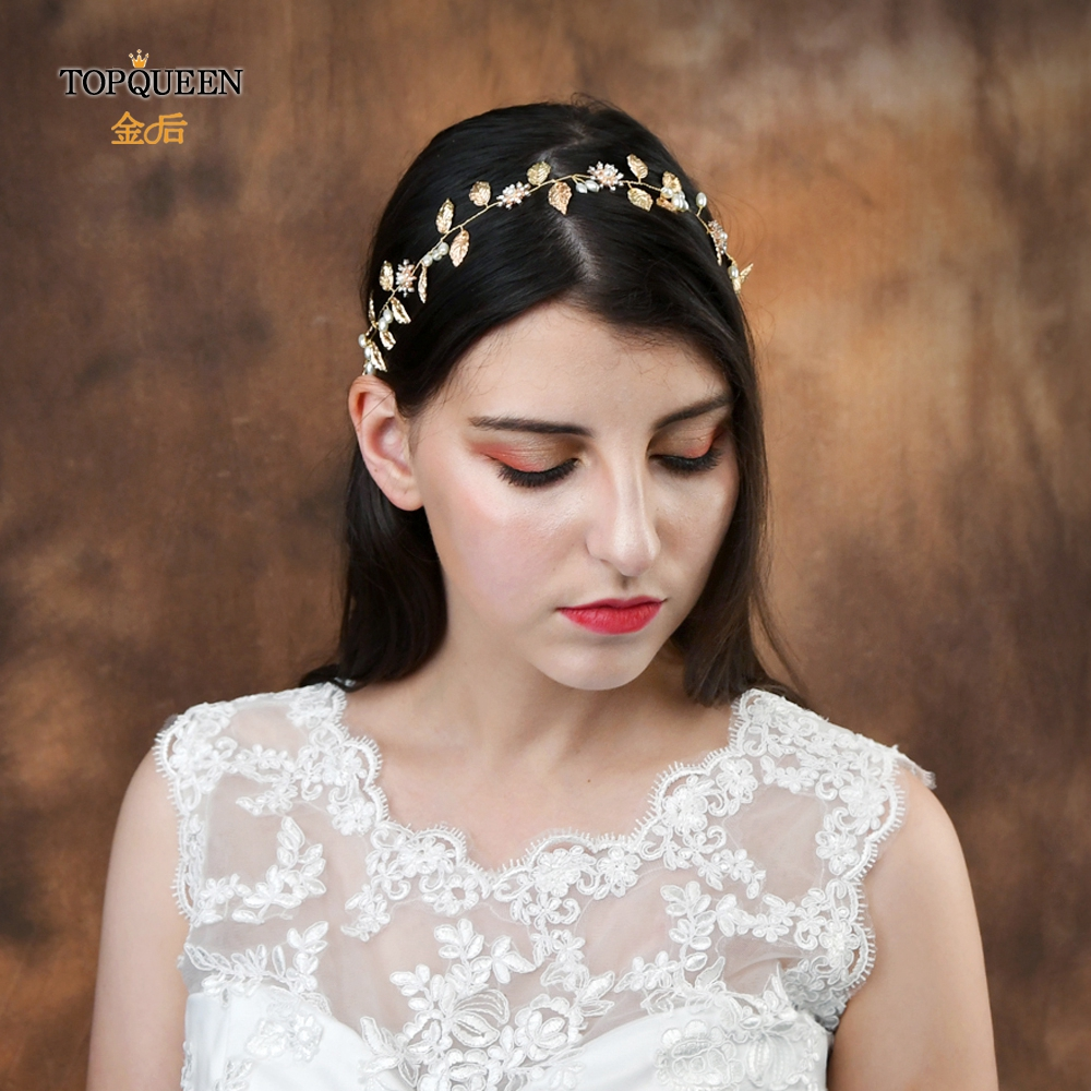 TOPQUEEN HP110 Bridal Headband Handmade Wedding Headpieces with True Pearl Gold Leaf and Diamond Beaded Hair Accessories-in Bridal Headwear from Weddings & Events
