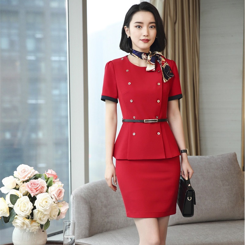 New Styles Fashion Two Pieces Tops And Skirt Uniform Styles Professional Blazers Suits With Scarf And Belt Career Business Sets