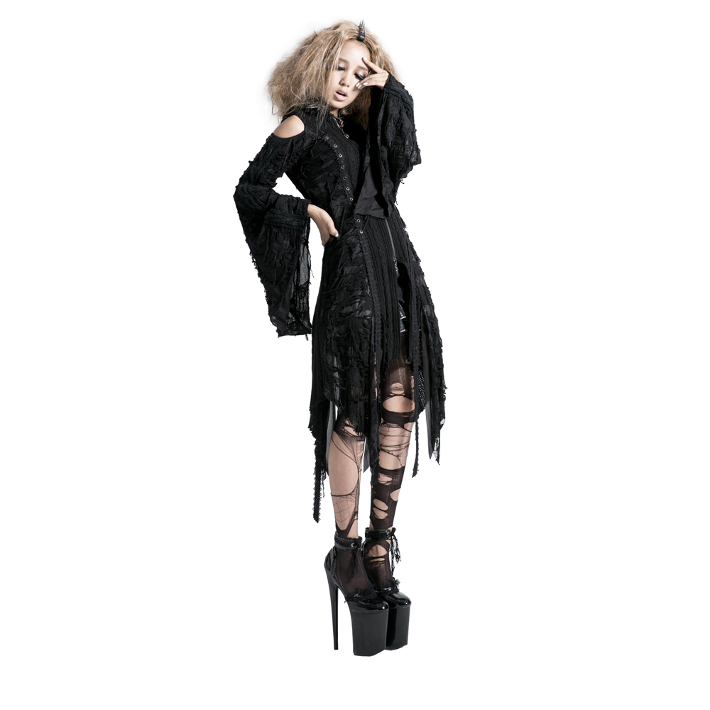 Punk gothic rock Worsted Hooded Azcket with Hole Knitted Black Korea Cardigan Woman Black Sweater