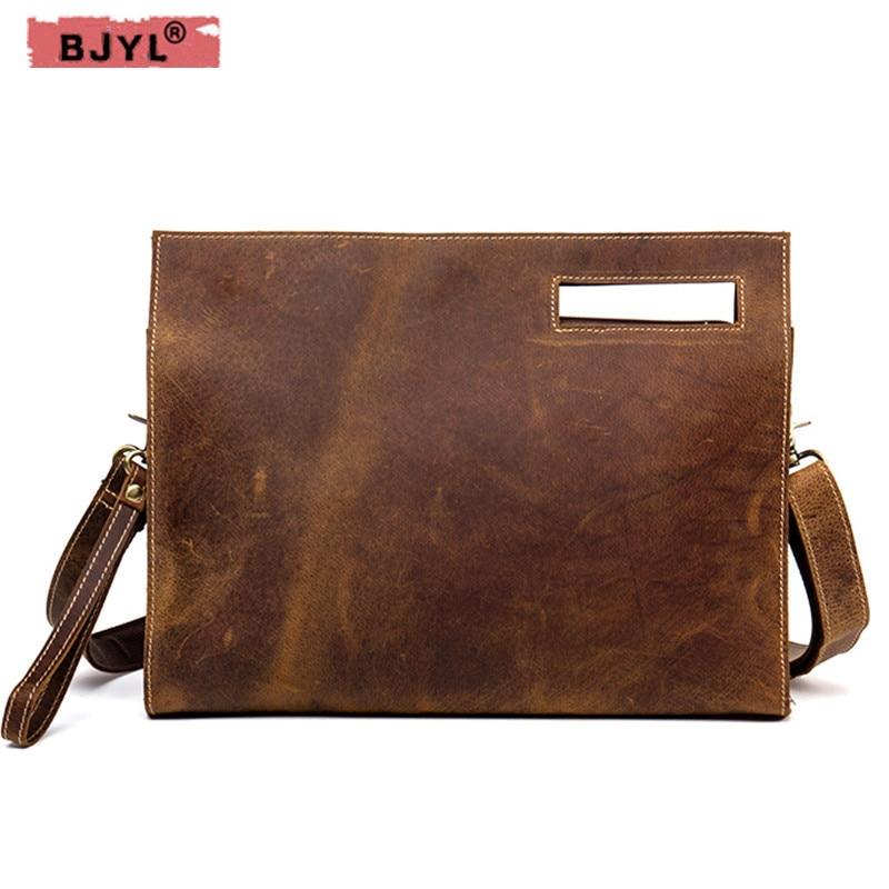 53befc787823 BJYL Бизнес ручной работы в стиле ретро Мужская сумка из натуральной кожи  Повседневная сумка crazy horse
