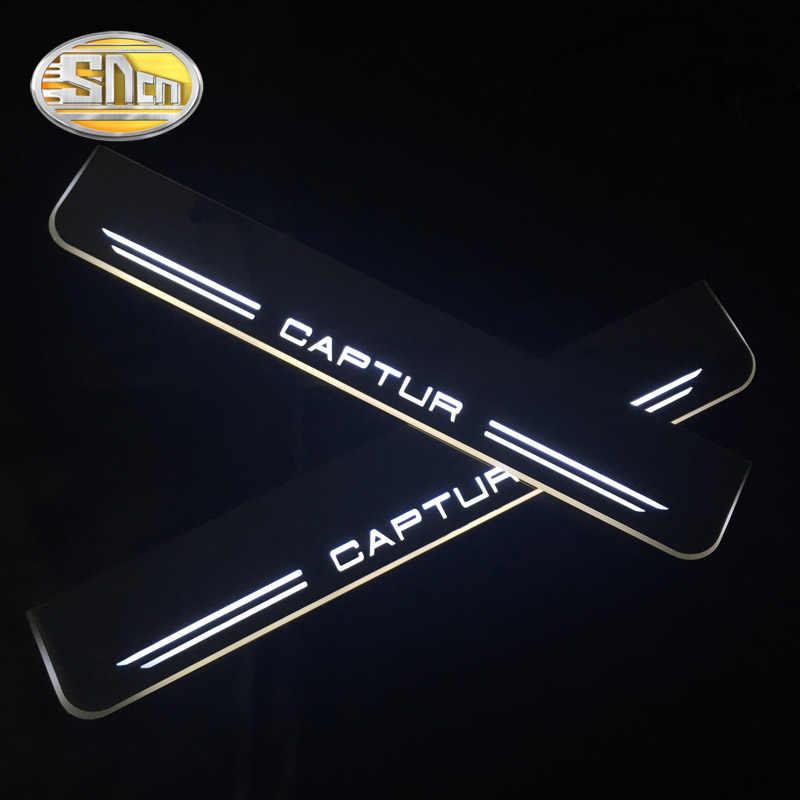 SNCN 4 Uds Pedal de bienvenida LED móvil acrílico para placa de desgaste de coche Pedal Umbral de puerta luz de camino para Renault Captur 2016 2017 2018