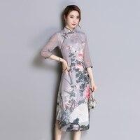 Half sleeve chiffon summer Vietnam Ao Dai dress for women