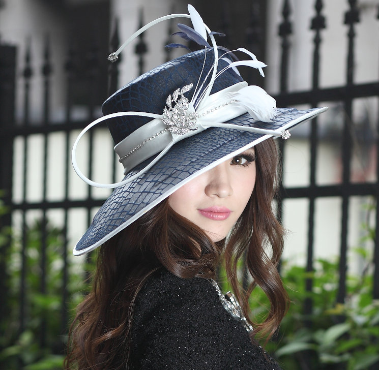 Women Formal Derby Church Wedding Cocktail Evening Beach Hat Diamond Vintage Wide Brim Fedora French Style Sun Cap - King Ting Millinery Co.,Ltd store