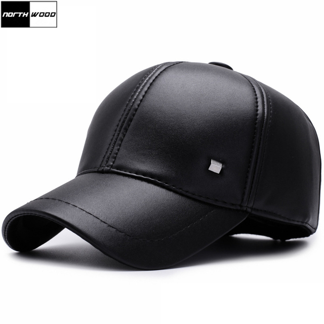 NORTHWOOD  Solid High Quality Pu Leather Winter Baseball Cap Bone Snapback  Hats For Men 54ae1d9a9022