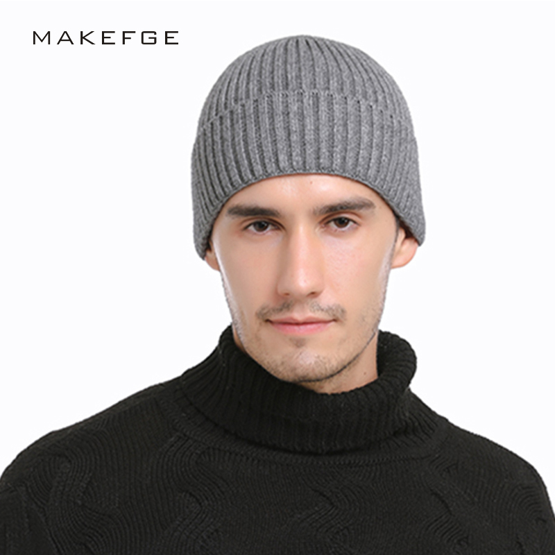 588e3913fd4f6 2018 New Men s Solid Color Striped Knit Beanie Hat Winter Man s Hat Wool  Woman Soft Thicken Hedging Cap Slouchy Beanies Skullies