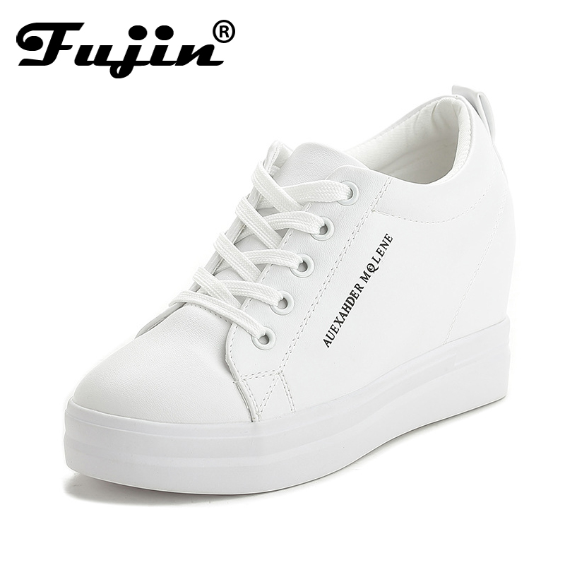 2018 Fujin New Fashion Spring Autumn Winter Wedges Casual Shoes Sneakers Lace-up High heel Platform shoes Increased white Black bzbfsky fashion 2018 lace up wedges platform casual shoes woman patchwork womens winter spring black white red ankle women boots