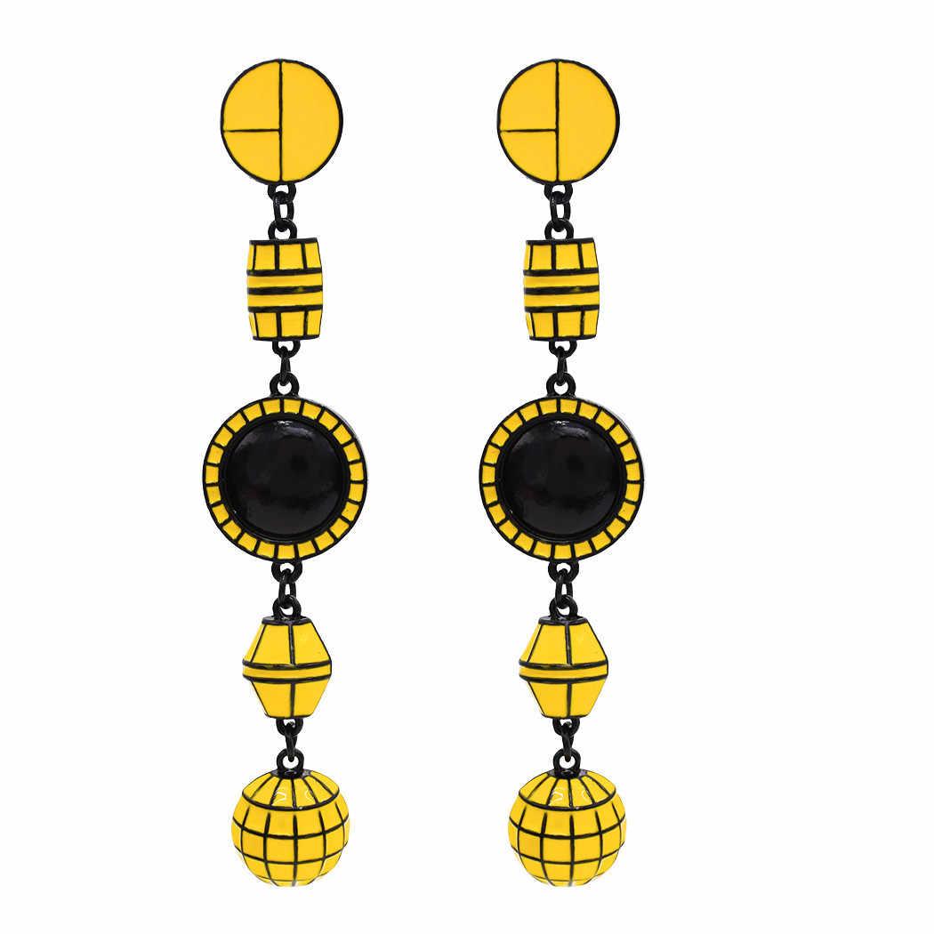 الهندي الإبداعية خمر طويل هندسي غامض مزاجي الحد الأدنى أقراط للنساء بوهو قوس قزح النيون مجوهرات نسائية