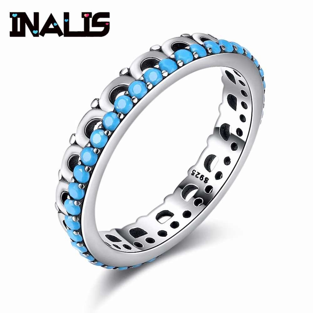 INALIS Elegant Statement 925 Sterling Silver Rings for Women Inlay Turquoise Vintage Finger Accessories Girl Wedding Party Gift