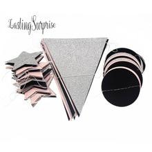 2M * 5CM Rosa negro plata brillo papel guirnalda círculo Baby Shower fiesta lentejuelas Vintage bandera banderas Navidad decoración del hogar