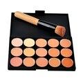 Envío gratis 15 Colores Profesional de Concealer del Camuflaje Facial Corrector En Crema Base de Maquillaje Paleta con el Cepillo Del Maquillaje