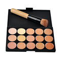 Free shipping  15 Colours Professional Facial Concealer Cream Foundation Makeup Camouflage Concealer Palette with Makeup Brush