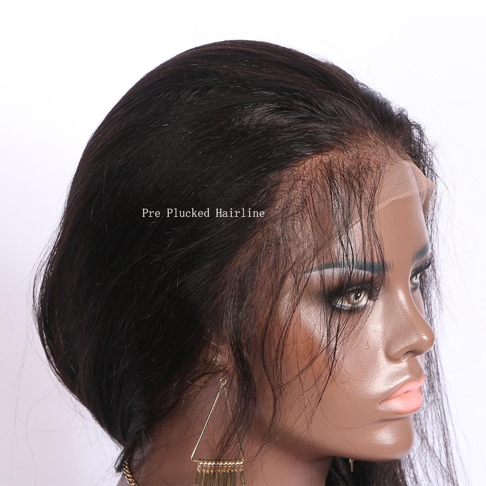 Eaion кудрявые прямые 13x6 человеческие волосы на кружеве для женщин 130 Плотность грубая яки бразильский Remy короткий боб парик натуральный цвет - 6