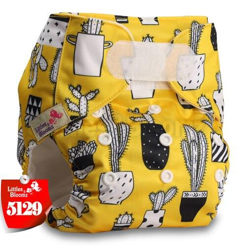 [Littles&Bloomz] Детские Моющиеся Многоразовые, настоящая стандартная ткань, застежка-липучка, карман для подгузников, пеленки, обертывание, подходит для рождения в горшке - Цвет: 5129