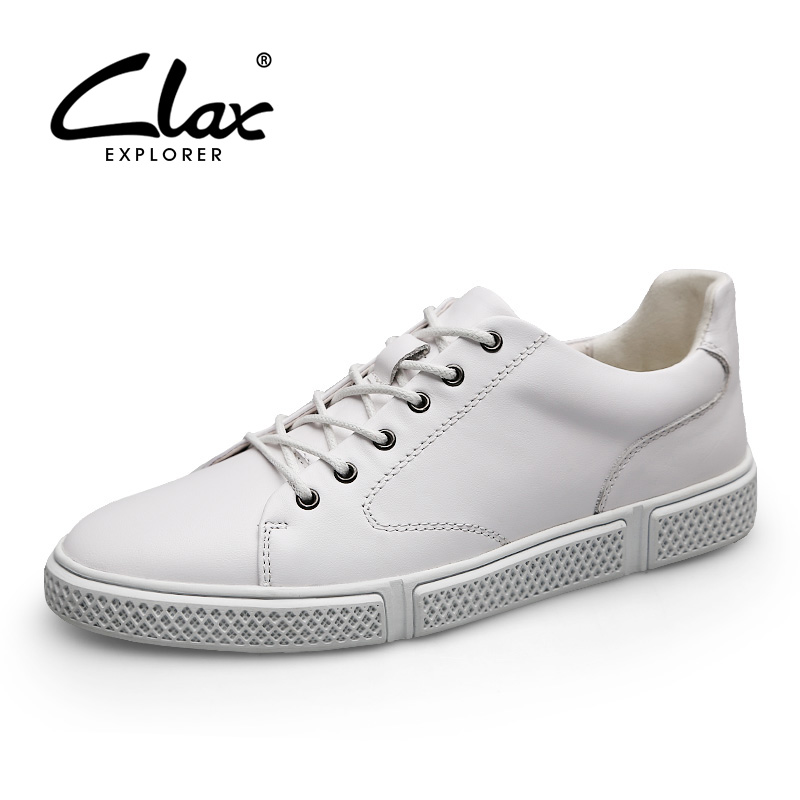 CLAX Men's Shoes Leather Casual Footwear Male Autumn Shoe Genuine Leather Walking Shoe White Sneakers chaussure homme Fashion цена
