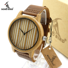 BOBO BIRD V-A19/A21 Mens Womens Bamboo Watch Wood Dial Quartz Wristwatch with Leather Strap Relogio Masculino