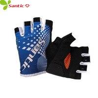 Santic Men Summer Cycling Gloves Short Half Finger Cool Feeling Sun Protective Cycling Protector