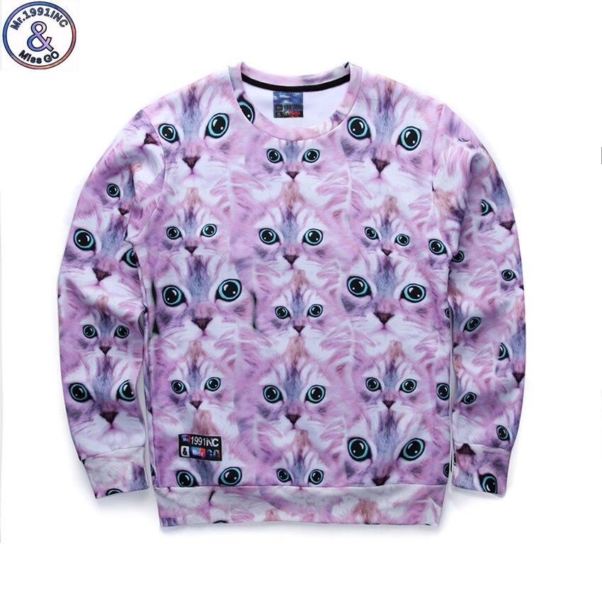 12-18years big kids brand sweatshirt boys youth fashion many kitten 3D printed hoodies girls jogger sportwear teens W26