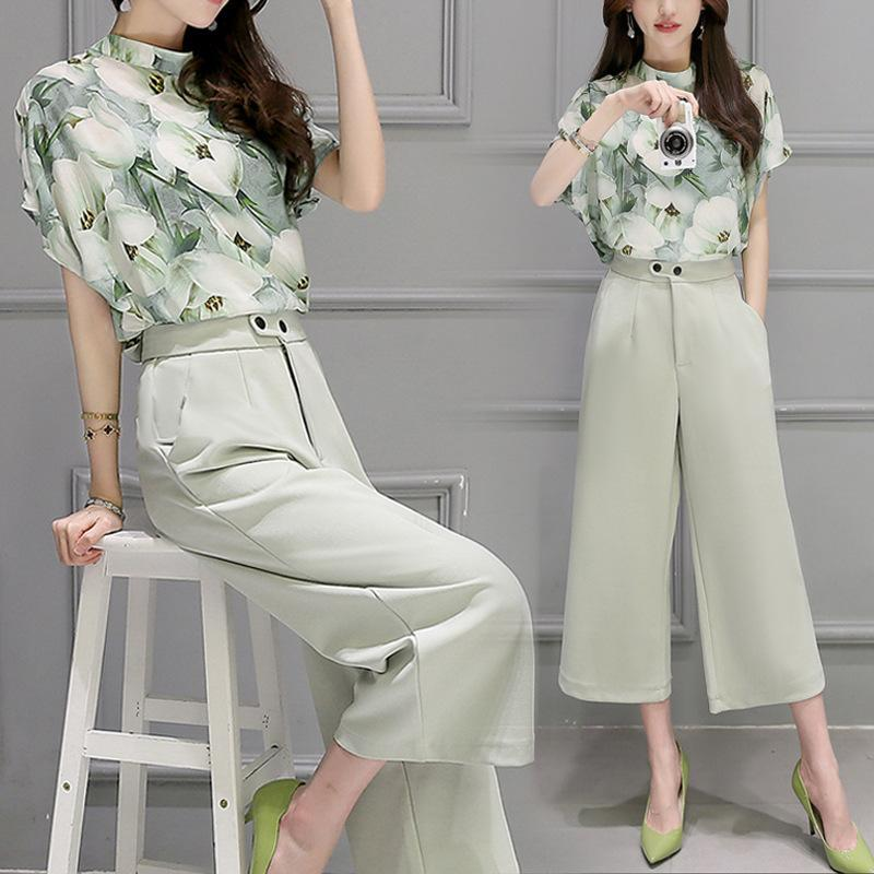 2 Two Piece Set Women Korea Hot Female Chiffon Blouse Tops Leg Pants Summer printing Casual Sets Clothes Womens Suits