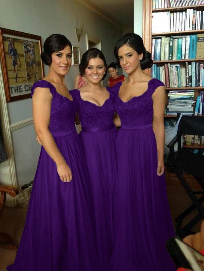 b4c61b47939 5014 lace two shoulder hot pink purple black red royal colored chiffon long  party bridemaids bridesmaid dress-in Bridesmaid Dresses from Weddings    Events