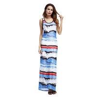 Striped Print Summer Maxi Dress Women Sleeveless Elegant Brief Beach Pencil Dresses Retro Party Dresses Ladies
