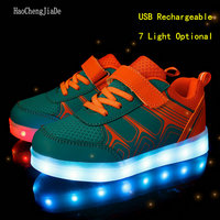 2018 New Fashion Children Luminous Sneakers Kids USB Rechargeable Colorful LED Casual Shoes For Girls Boys