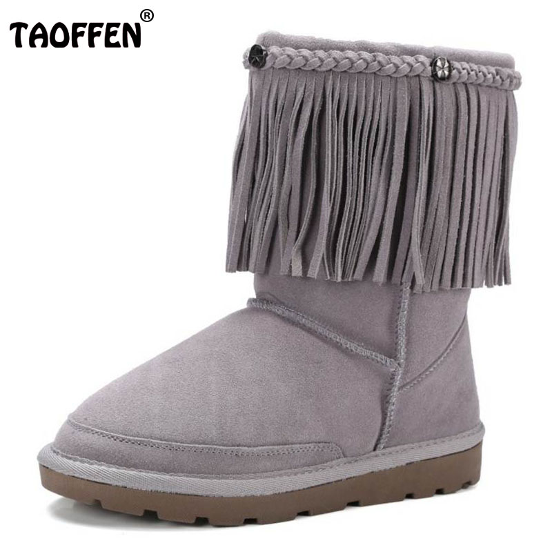 TAOFFEN Cold Winter Snow Boots Women Real Leather Warm Fur Inside Mid Calf Boots Female Tassels Thick Platfrom Shoes Size 34-39 taoffen women genuine leather flats snow boots women metal buckle mid calf boots warm fur shoes for women footwears size 34 39