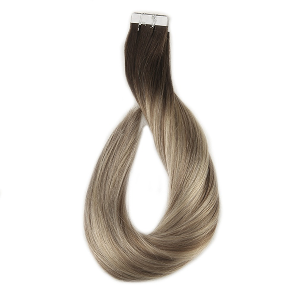 Full Shine Remy Tape in Hair 20 Pcs 50g Balayage 3 Fading to 8 Ash Brown
