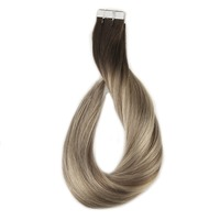 Full Shine Remy Tape in Hair 20 Pcs 50g Balayage #3 Fading to #8 Ash Brown and #22 Blonde 100% Human Hair Extension de cheveux