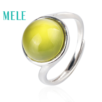 Natural yellow prehnite 925 sterling silver rings for women and man,11mm round cut fashion and simple fine gemstone jewelry