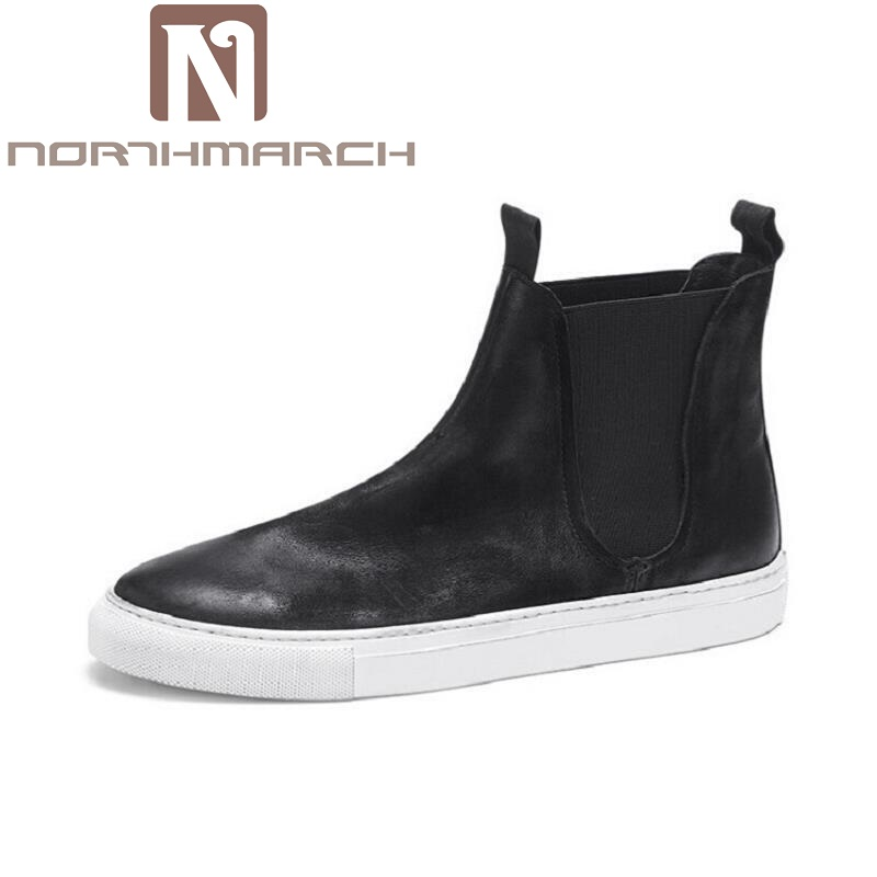 NORTHMARCH Classic Leather Winter Boots Men Fashion Desert Boot Popular High Top Shoes Autumn Black Flats Winterschuhe Herren