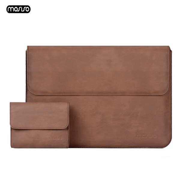 MOSISO PU Leather Laptop Sleeve Notebook Bag Pouch Case for Macbook Pro 15 Case Waterproof Unisex 14 Inch Laptop Bag Sleeve Cove