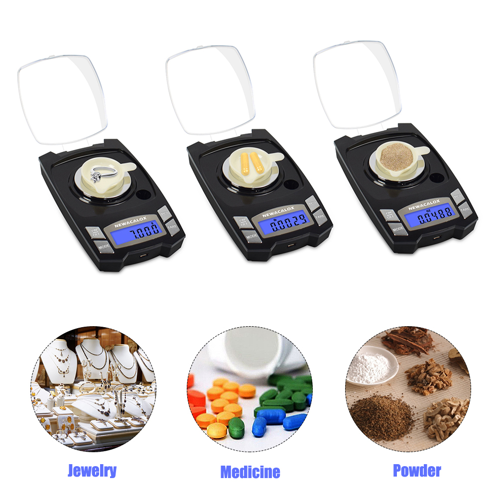 Image 4 - NEWACALOX 50g/100g x 0.001g USB Charging Jewelry Scale LCD Digital Pocket Precision Electronic Scale Medicinal Lab Balance Weigh-in Weighing Scales from Tools