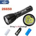 8000 lumens Underwater Diving flashlight 3 CREE XML T6 scuba flashlights 100M dive torch waterproof light 8 mode 18650 OR 26650