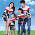 Long Sleeve Striped Dresses Mother Girl Striped T-shirt Daddy Boy Cotton Family Matching Clothes Family Set Women Dresses LB35
