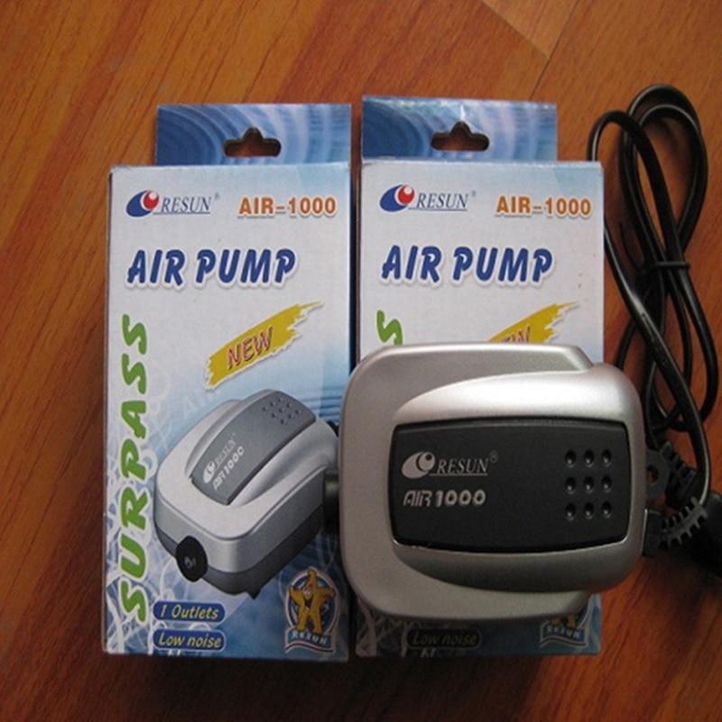2W 60LPM RESUN Air-1000 Super Silent Aquarium Oxygen Air Pump for Fish Tank Single Outlet Air Compressor