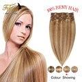 Clip en Extensiones de Cabello Cabeza Llena 8 unids Brasileño de la Virgen Del Pelo Clip En Extensiones Del Pelo humano Cabelo humano tic tac Pince Cheveux