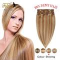 Clip on Hair Extensions Full Head 8pcs Brazilian Virgin Hair Human Hair Clip In Extensions Cabelo Humano tic tac Pince Cheveux