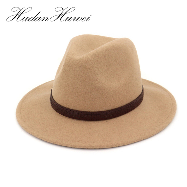 100% Wool Fedora Hats with Leather Decorated Wide Flat Brim Jazz Formal Hat  Panama Cowboy Cap Trilby Sombrero for Men Women 71c9021d534